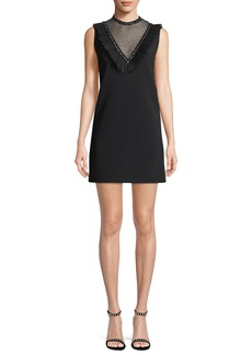 Miu Miu Sleeveless Crystal-Studded Cady Cocktail Dress