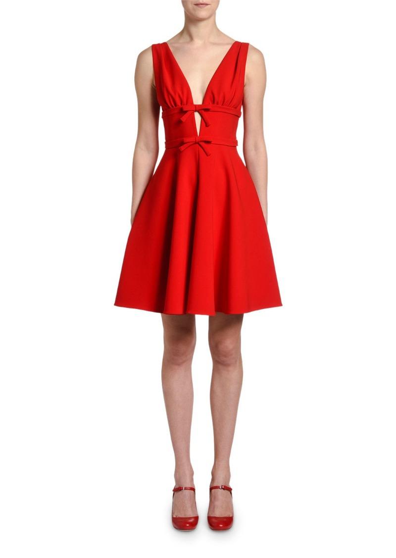 Miu Miu Sleeveless V-Neck Fit-&-Flare Dress w/ Bows