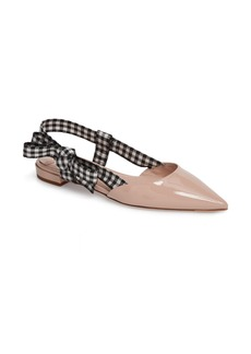 Miu Miu Slingback Bow Pointy Toe Flat (Women)