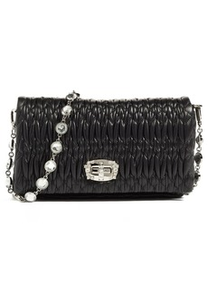 Miu Miu Small Crystal Embellished Leather Shoulder Bag