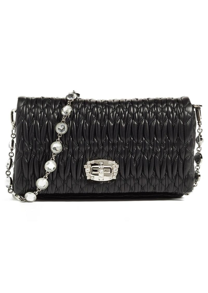 Miu Miu Miu Miu Small Crystal Embellished Leather Shoulder Bag ... 294cce9b3aeeb