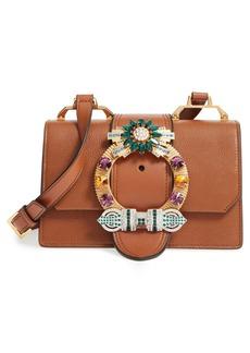Miu Miu 'Small Madras' Crystal Embellished Leather Shoulder Bag
