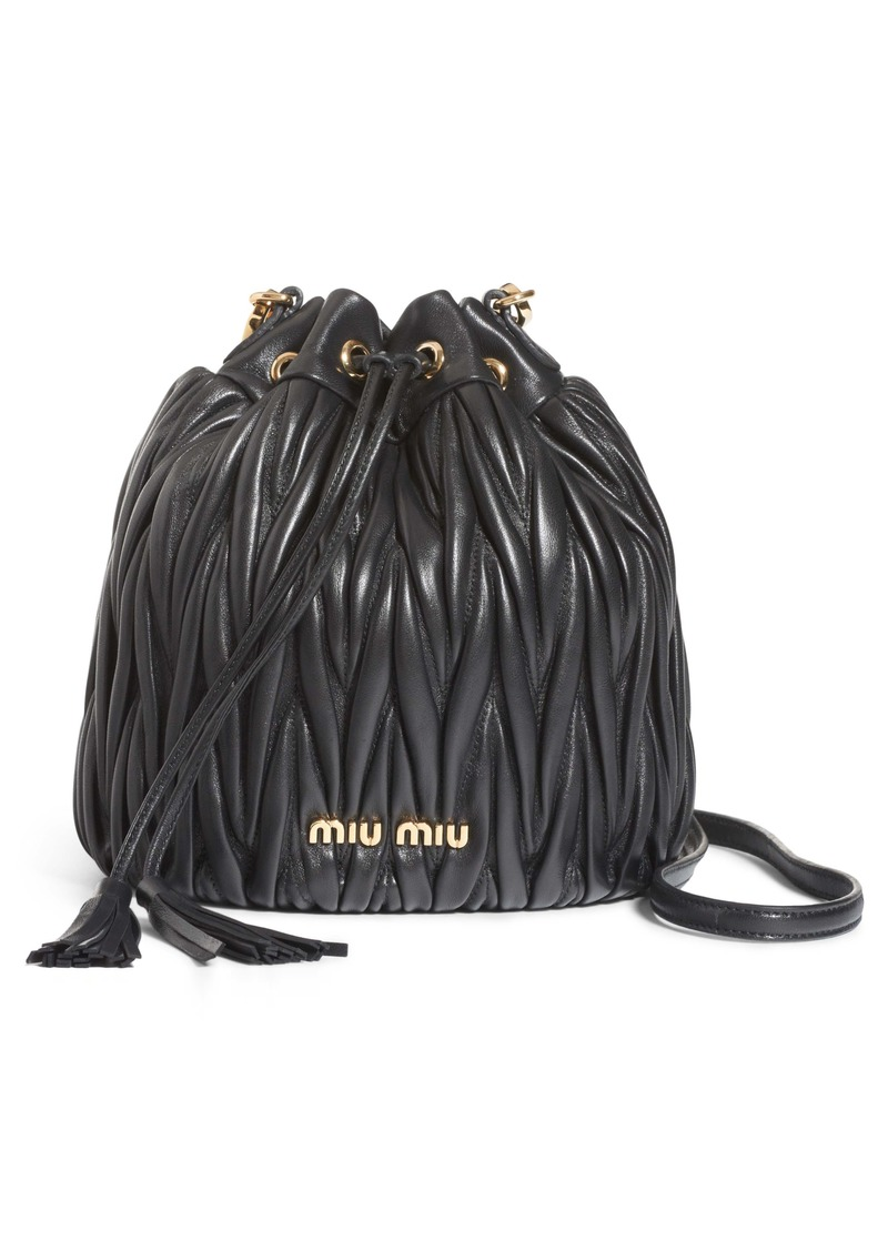3b3472ee9622 Miu Miu Miu Miu Small Matelassé Leather Bucket Bag