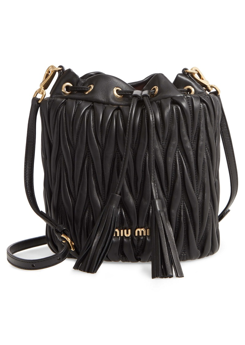 Miu Miu Small Matelassé Leather Bucket Bag