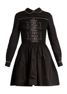 Miu Miu Smocked-front cotton mini dress