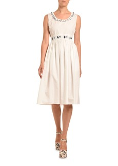 Miu Miu Smocked Poplin Dress