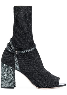 Miu Miu sock fusion sandal booties - Black