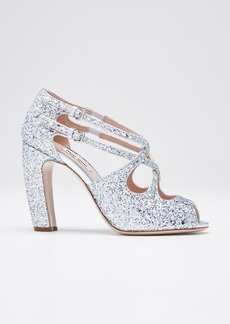 Miu Miu Speauntate Crisscross Glitter Sandals
