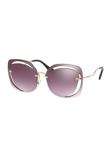 Miu Miu Square Cutout Metal Sunglasses