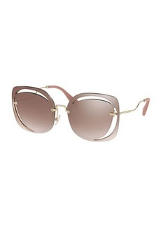 Miu Miu Square Cutout Metal Sunglasses