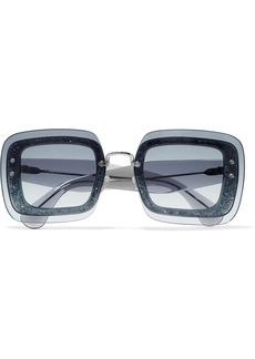 Miu Miu Square-frame glittered acetate sunglasses