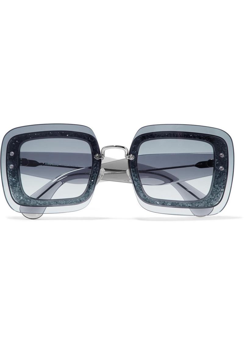 9c5e246de061 Miu Miu Square-frame glittered acetate sunglasses | Sunglasses