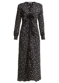 Miu Miu Star-print ruffled-silk midi dress
