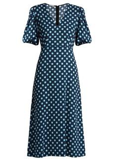 Miu Miu Star-print V-neck crepe midi dress