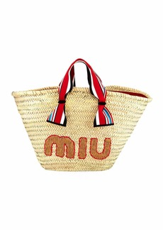 Miu Miu Straw Ribbon-Handle Shopper Tote Bag