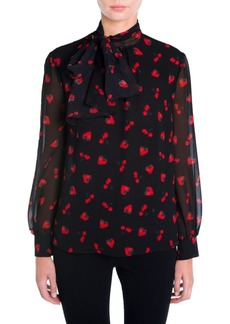 Miu Miu Strawberry & Cherry Print Tie-Neck Blouse