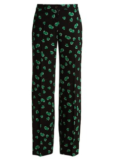 Miu Miu Strawberry-print mid-rise wide-leg trousers