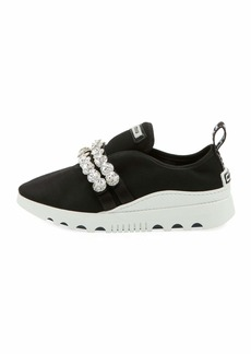 Miu Miu Stretch-Fabric Embellished Trainers