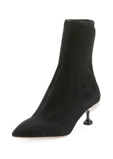 Stretch-Suede Jeweled 55mm Bootie