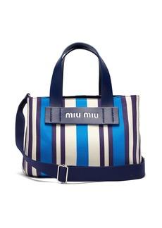 Miu Miu Striped canvas beach bag
