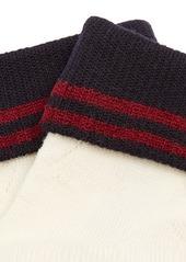 Miu Miu Striped pointelle stretch-wool ankle socks