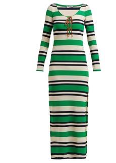 Miu Miu Striped ribbed-jersey dress
