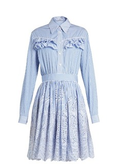 Miu Miu Striped ruffle-trimmed cotton-poplin dress