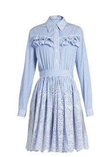 Miu Miu Striped ruffle-trimmed cotton-poplin dress