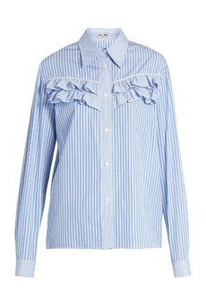 Miu Miu Striped ruffle-trimmed cotton-poplin shirt