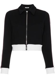 Miu Miu Striped sports jacket with logo - Black