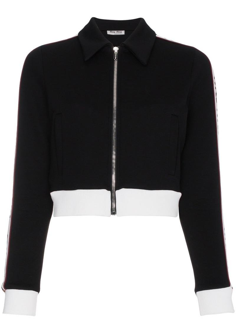 Miu Miu Striped sports jacket with logo