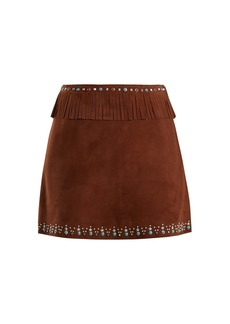Miu Miu Stud-embellished fringed suede mini skirt