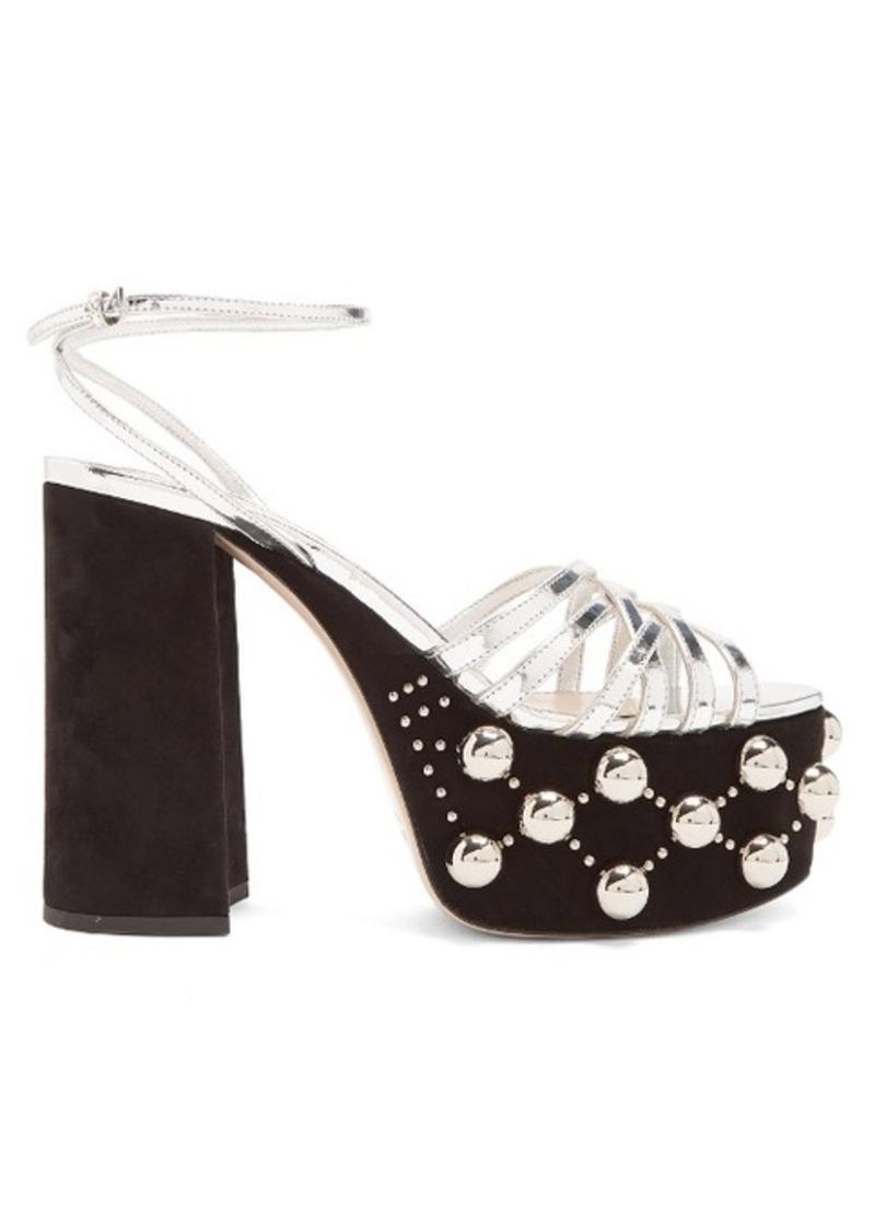 Miu Miu Stud-embellished suede platform sandals