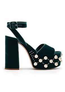 Miu Miu Stud-embellished velvet platform sandals