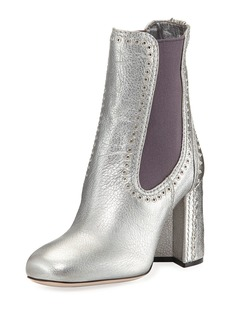 Miu Miu Studded Metallic Leather Chelsea Boot