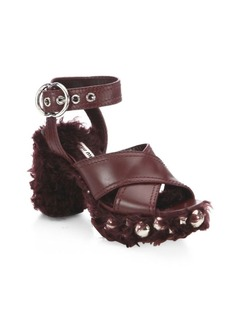 Miu Miu Studded Shearling & Leather Sandals