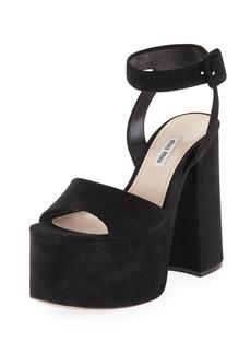 Miu Miu Suede Platform Block-Heel Sandal