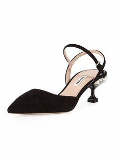 Miu Miu Suede Slingback Jeweled-Heel Pumps