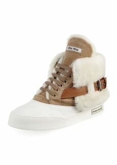 Suede Two-Tone High-Top Sneaker