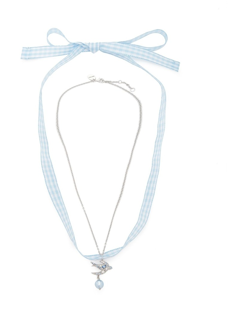 cd4d3f97e9d0 SALE! Miu Miu Miu Miu Swallow-pendant gingham necklace