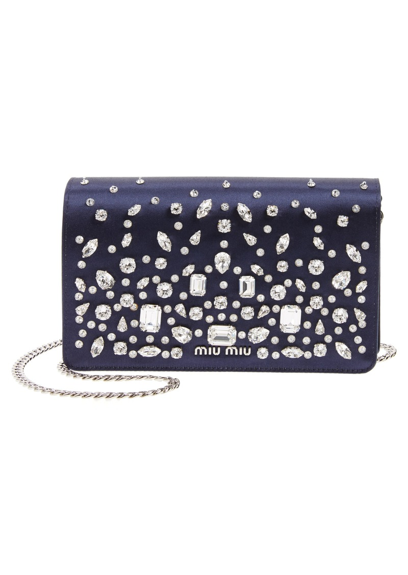 4c245bebcc0c Miu Miu Miu Miu Swarovski Crystal Embellished Shoulder Bag
