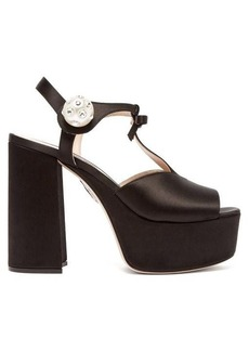 Miu Miu T-bar satin platform sandals