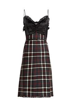 Miu Miu Tartan satin and wool cami dress