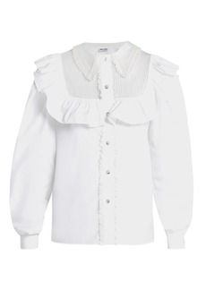 Miu Miu Tie-waist ruffled cotton blouse