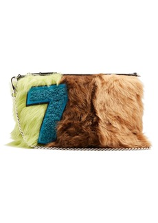 Miu Miu Tri-colour smooth shearling and leather pouch