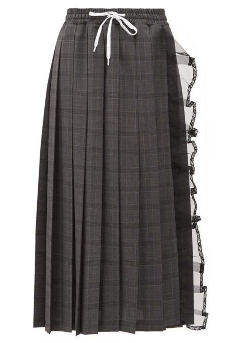 Miu Miu Tulle-trim pleated checked-wool skirt