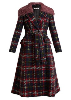 Miu Miu Tweed tartan-checked detachable-collar wool coat