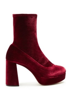 Miu Miu Velvet block-heel ankle boots