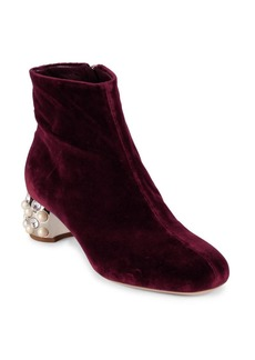 Miu Miu Velvet Jeweled Heel Booties