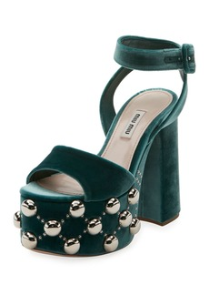 Miu Miu Velvet Studded Platform Sandal